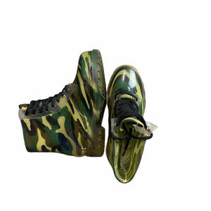 Green Camo Print Clear Rubber Combat Boots